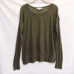 LOFT Olive Green Long Sleeve Knit Comfy Top
